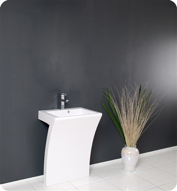 Fresca Quadro White Pedestal Sink - Modern Bathroom Vanity with delivery to UK
