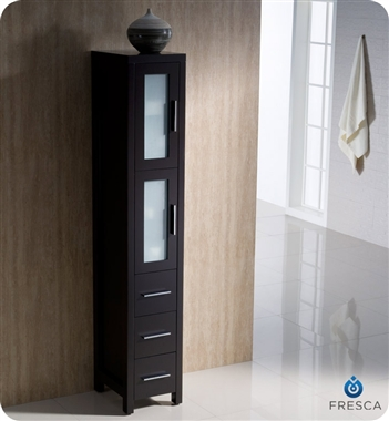 Fresca Torino  Espresso Modern Bathroom Vanity w/ Side Cabinet & Vessel Sink with delivery to UK