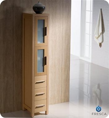 Fresca Torino  Light Oak Modern Double Sink Bathroom Vanity w/  Side Cabinets & Vessel Sinks with delivery to UK