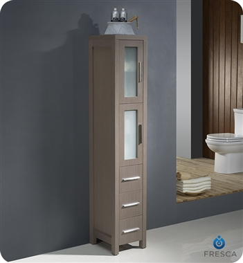 Fresca Torino  Gray Oak Modern Double Sink Bathroom Vanity with  Side Cabinets and Integrated S with delivery to UK