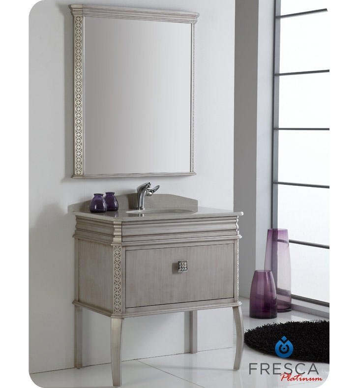 Fresca Platinum London  Antique Silver Bathroom Vanity w/ Swarovski Handles with delivery to UK