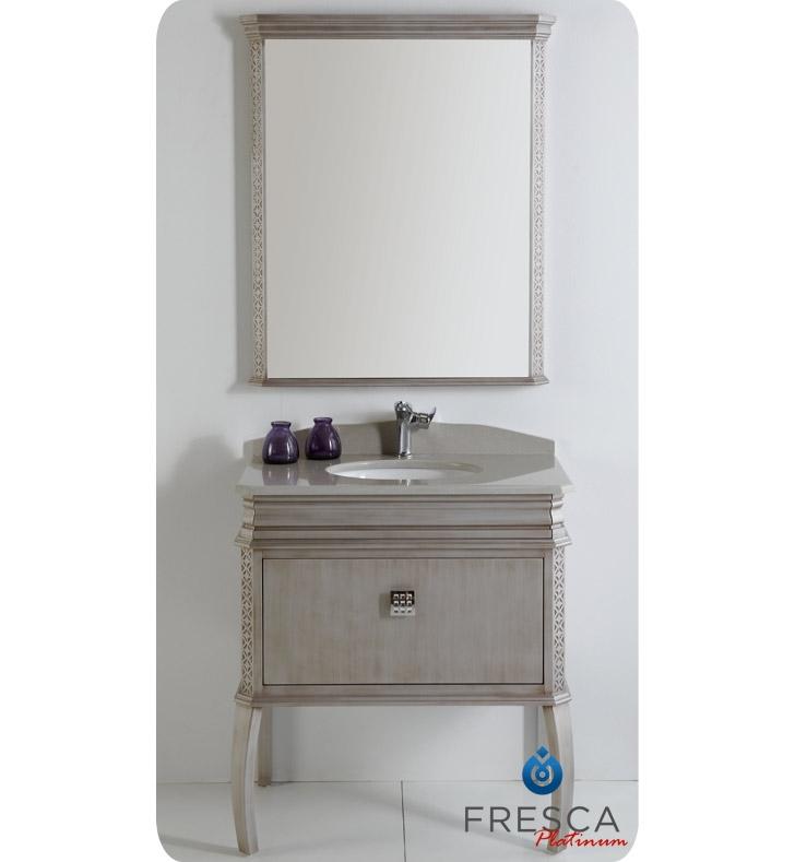 Fresca Platinum London  Antique Silver Bathroom Vanity w/ Swarovski Handles with delivery to UK