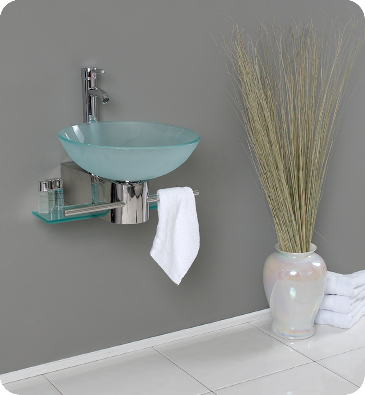 Fresca Cristallino Modern Glass Bathroom Vanity w/ Frosted Vessel Sink with delivery to UK