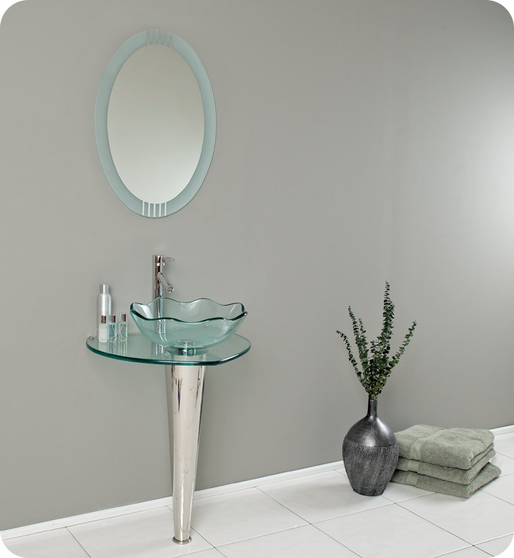 Fresca Netto Modern Glass Bathroom Vanity w/ Wavy Edge Vessel Sink with delivery to UK