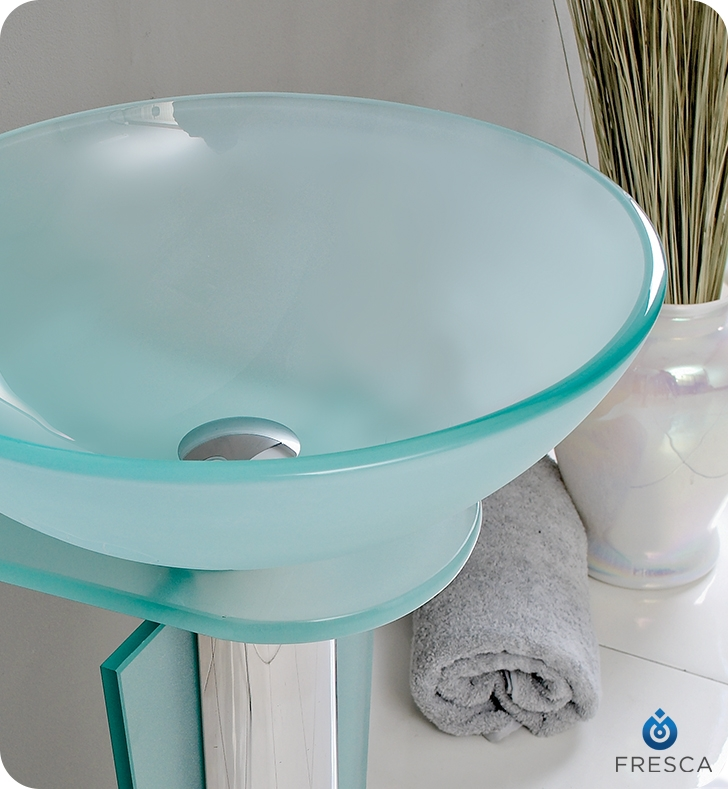 Fresca Vitale Modern Glass Bathroom Vanity w/ Mirror with delivery to UK