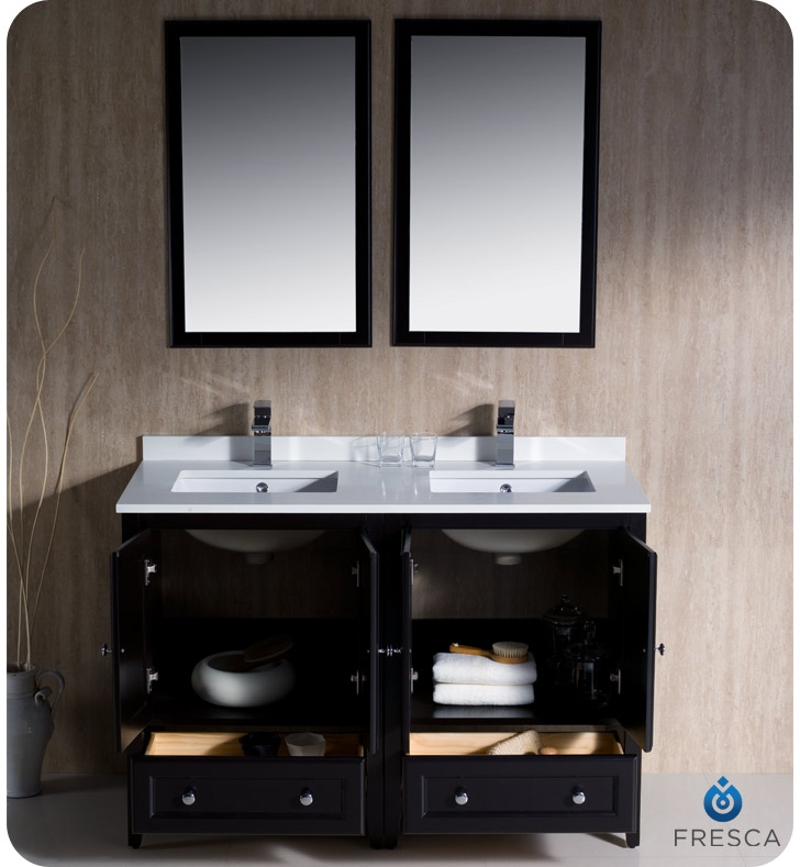 Fresca Oxford  Espresso Traditional Double Sink Bathroom Vanity with delivery to UK