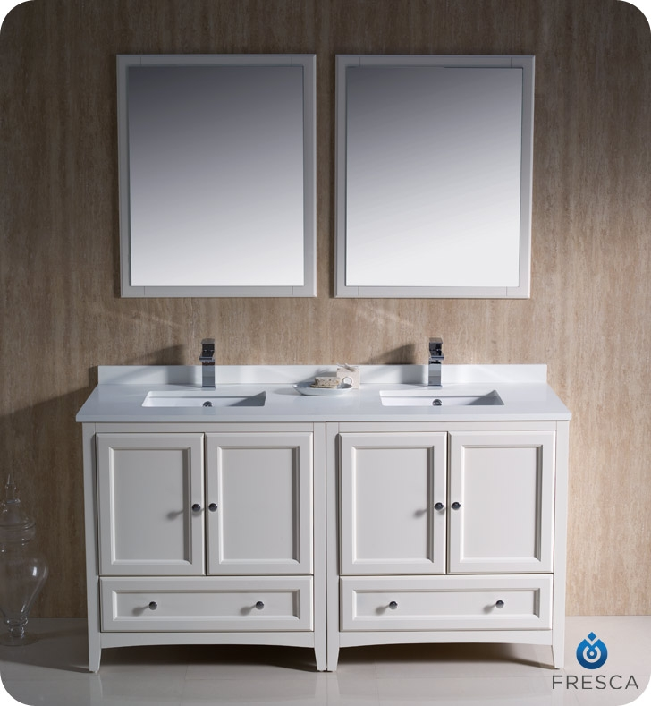 Fresca Oxford  Antique White Traditional Double Sink Bathroom Vanity with delivery to UK