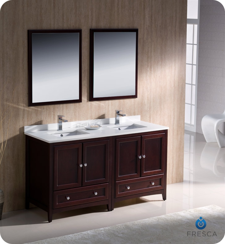 Fresca Oxford Mahogany Traditional Double Sink Bathroom Vanity with  delivery to UK