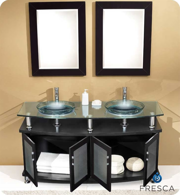 Fresca Contento  Espresso Double Sink Modern Bathroom Vanity w/ Mirrors with delivery to UK
