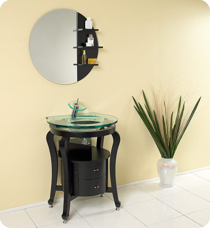 Fresca Simpatico Espresso Modern Bathroom Vanity w/ Mirror & Shelves with delivery to UK