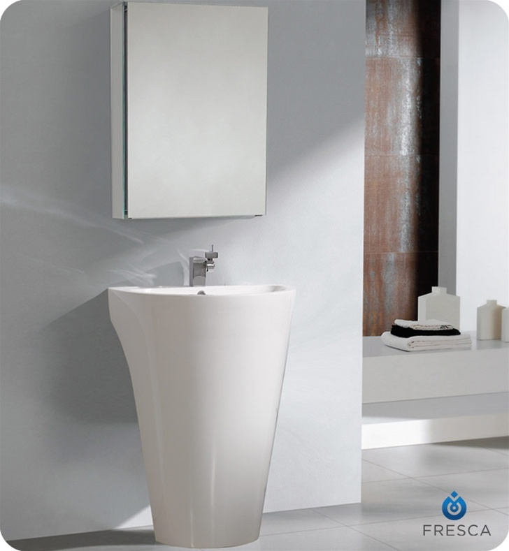 Fresca Parma White Pedestal Sink w/ Medicine Cabinet - Modern Bathroom Vanity with delivery to UK