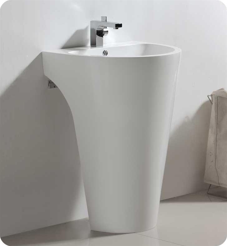 Fresca Parma White Pedestal Sink w/ Medicine Cabinet - Modern Bathroom Vanity with delivery to UK