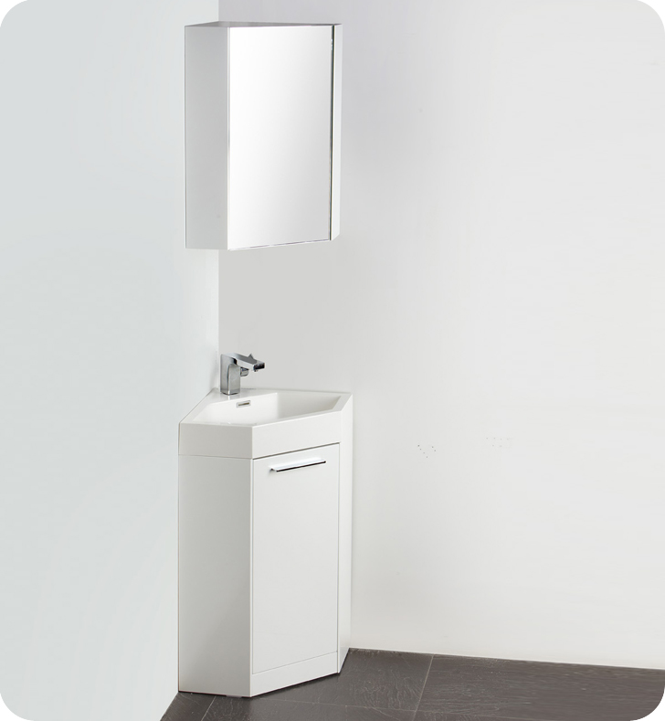 Fresca Coda  White Modern Corner Bathroom Vanity with delivery to UK