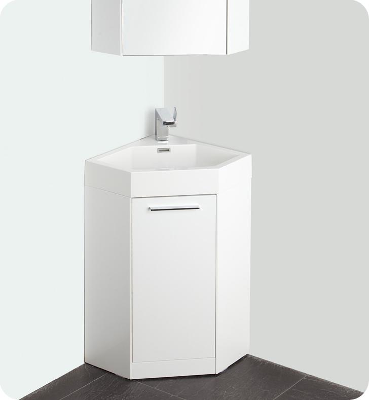 Fresca Coda  White Modern Corner Bathroom Vanity with delivery to UK