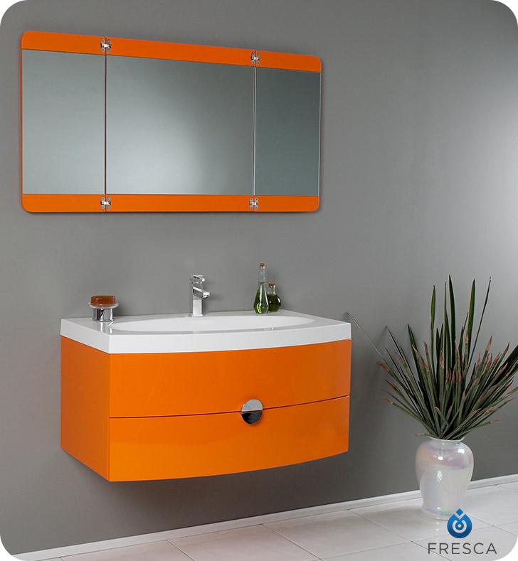 Fresca Energia Orange Modern Bathroom Vanity w/ Three Panel Folding Mirror with delivery to UK