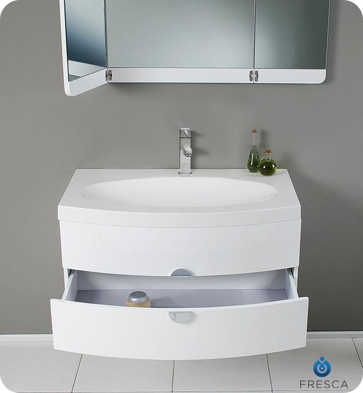 Fresca Energia White Modern Bathroom Vanity w/ Three Panel Folding Mirror with delivery to UK