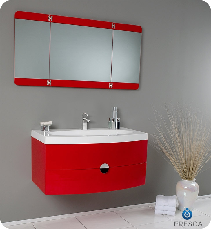 Fresca Energia Red Modern Bathroom Vanity w/ Three Panel Folding Mirror with delivery to UK