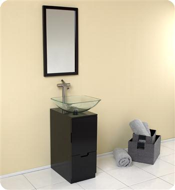 Freca Brilliante Espresso Modern Bathroom Vanity w/ Mirror with delivery to UK