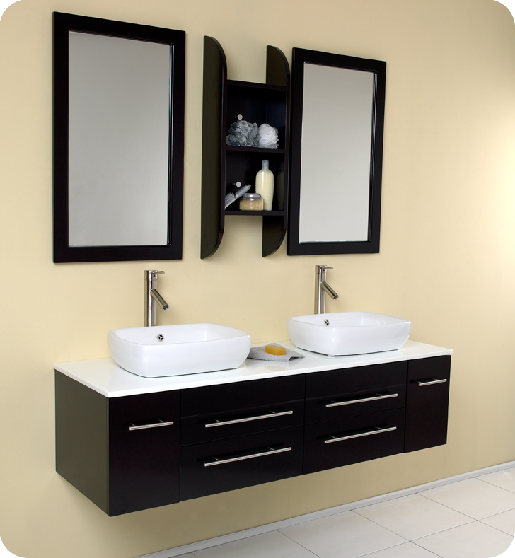 Fresca Bellezza Espresso Modern Double Vessel Sink Bathroom Vanity with delivery to UK