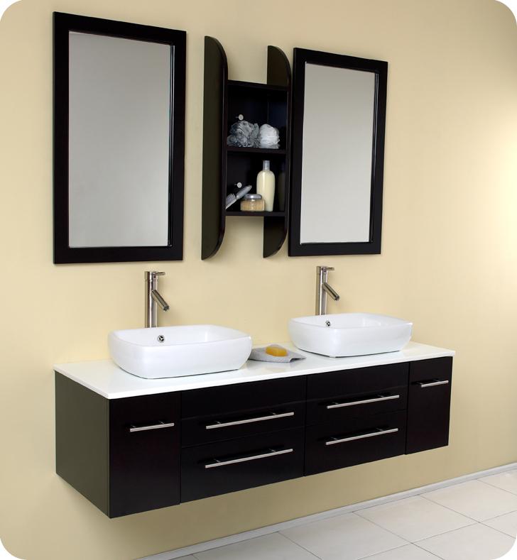 Fresca Bellezza Espresso Modern Double Vessel Sink Bathroom Vanity with delivery to UK