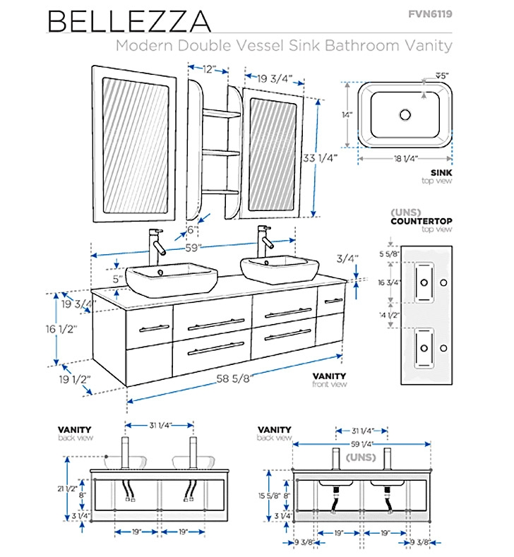 Fresca Bellezza Natural Wood Modern Double Vessel Sink Bathroom Vanity with delivery to UK
