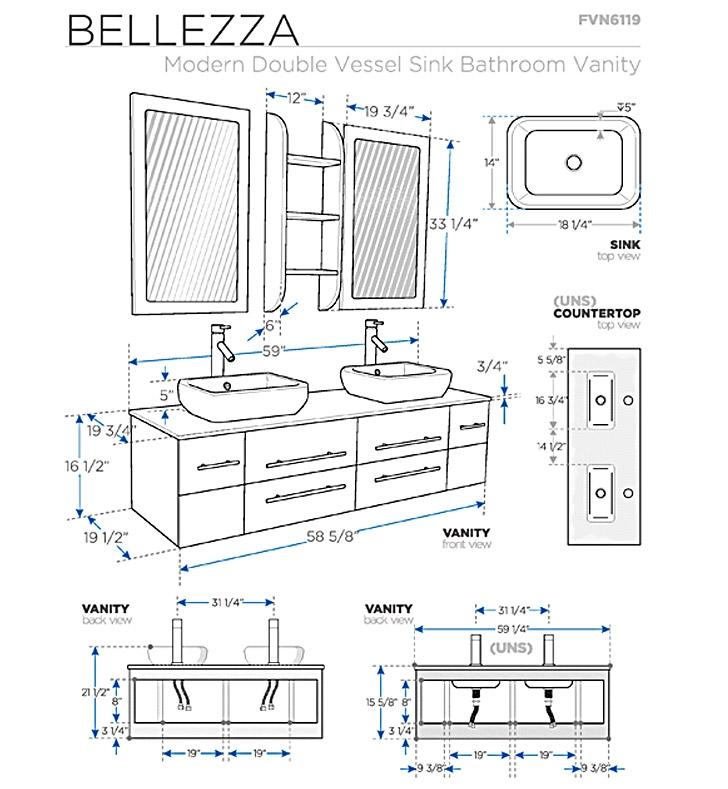 Fresca Bellezza Espresso Modern Double Sink Bathroom Vanity with delivery to UK