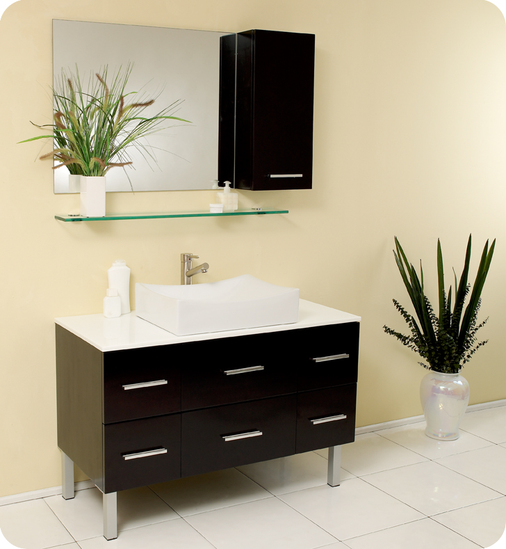 Fresca Distante Espresso Modern Bathroom Vanity w/ Mirror & Side Cabinet with delivery to UK