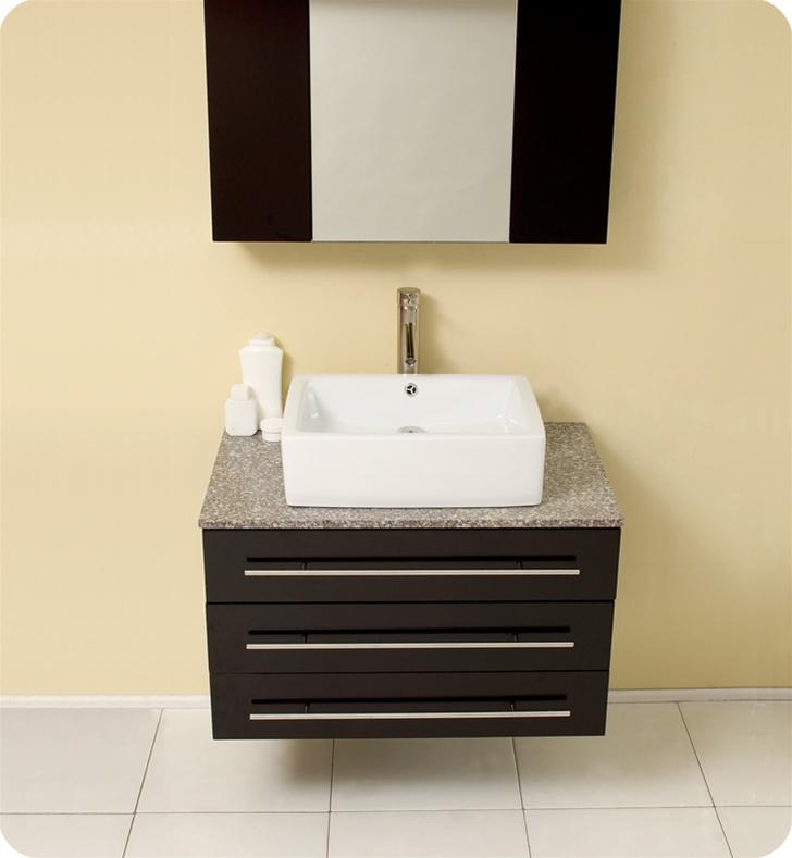 Fresca Modello Espresso Modern Bathroom Vanity w/ Marble Countertop with delivery to UK