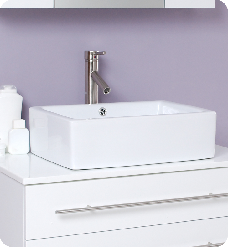 Fresca Modello White Modern Bathroom Vanity w/ Marble Countertop with delivery to UK
