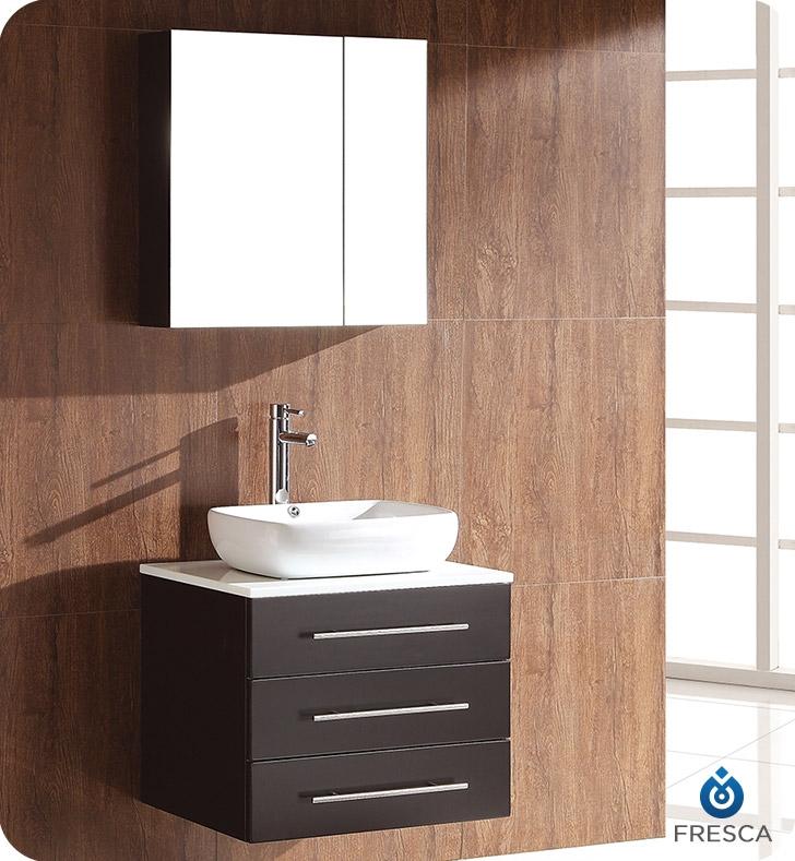 Fresca Modella Espresso Modern Bathroom Vanity w/ Medicine Cabinet with delivery to UK