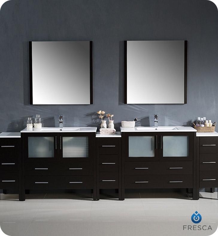Fresca Torino  Espresso Modern Double Sink Bathroom Vanity with  Side Cabinets and Integrated  with delivery to UK