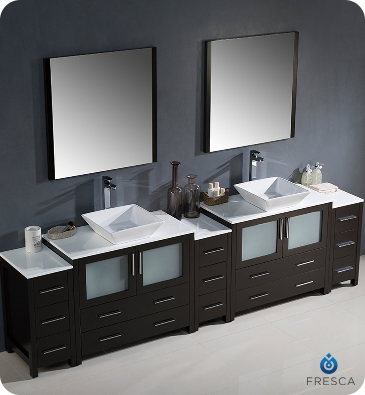 Fresca Torino  Espresso Modern Double Sink Bathroom Vanity with  Side Cabinets and Vessel Sink with delivery to UK