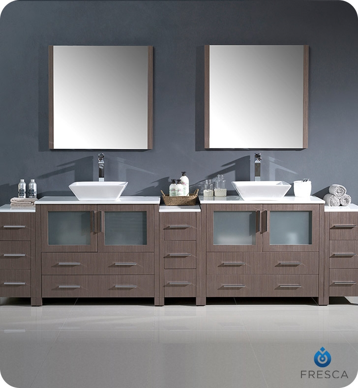 Fresca Torino  Gray Oak Modern Double Sink Bathroom Vanity with  Side Cabinets and Vessel Sink with delivery to UK