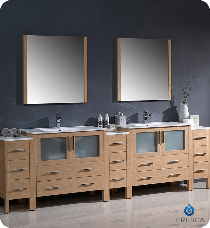 Fresca Torino  Light Oak Modern Double Sink Bathroom Vanity with  Side Cabinets and Integrated with delivery to UK
