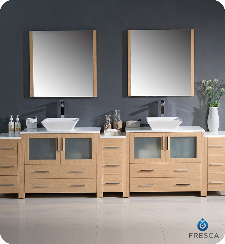Fresca Torino  Light Oak Modern Double Sink Bathroom Vanity with  Side Cabinets and Vessel Sin with delivery to UK