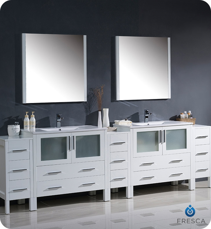 Fresca Torino  White Modern Double Sink Bathroom Vanity with  Side Cabinets and Integrated Sin with delivery to UK