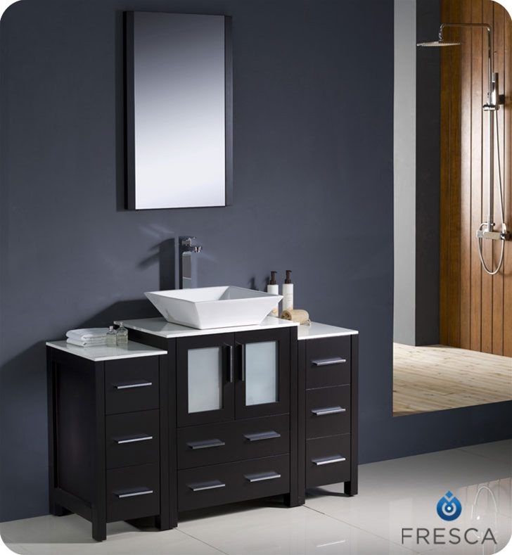 Fresca Torino  Espresso Modern Bathroom Vanity w/  Side Cabinets & Vessel Sink with delivery to UK