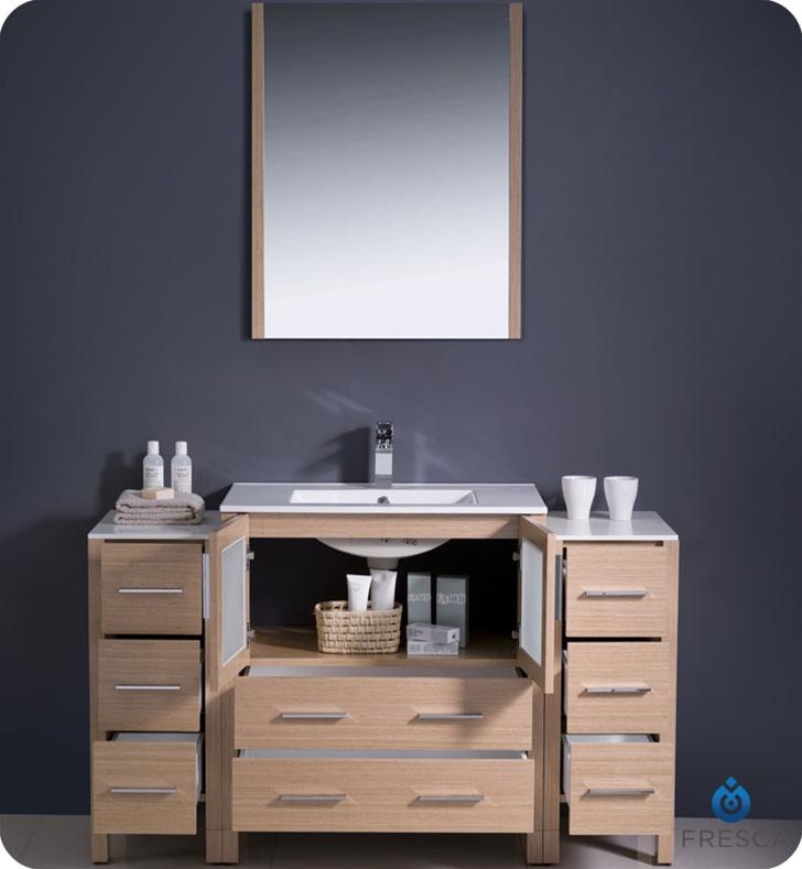 Fresca Torino  Light Oak Modern Bathroom Vanity w/  Side Cabinets & Integrated Sink with delivery to UK