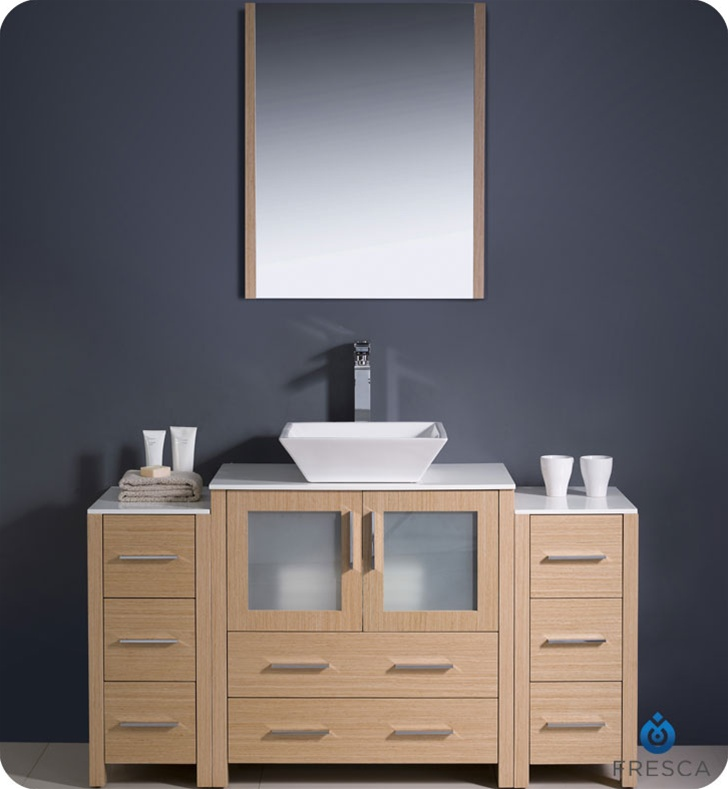 Fresca Torino  Light Oak Modern Bathroom Vanity w/  Side Cabinets & Vessel Sink with delivery to UK