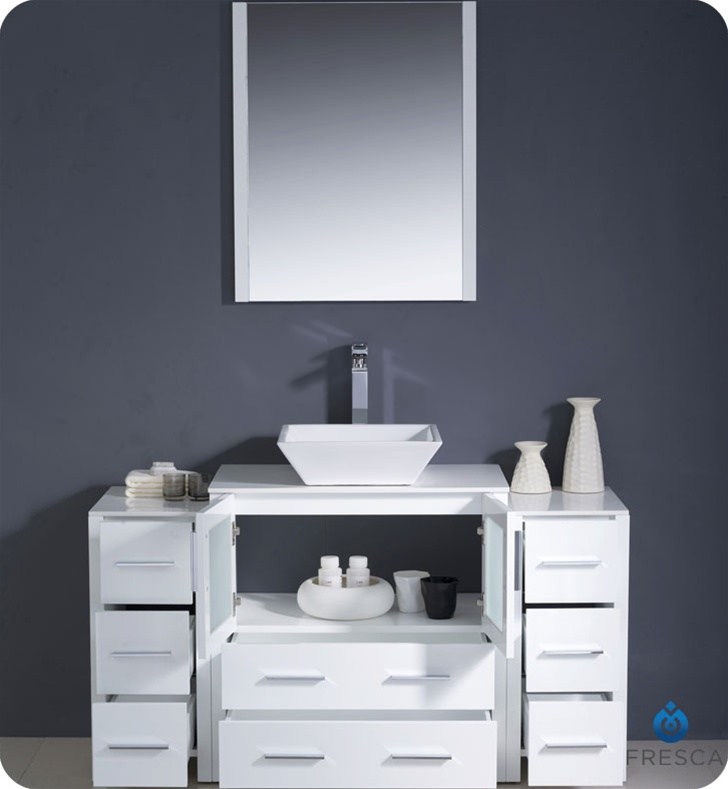 Fresca Torino  White Modern Bathroom Vanity w/  Side Cabinets & Vessel Sink with delivery to UK