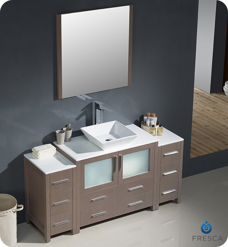 Fresca Torino  Gray Oak Modern Bathroom Vanity with  Side Cabinets and Vessel Sink with delivery to UK