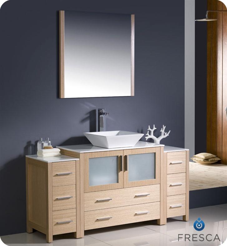 Fresca Torino  Light Oak Modern Bathroom Vanity w/  Side Cabinets & Vessel Sink with delivery to UK