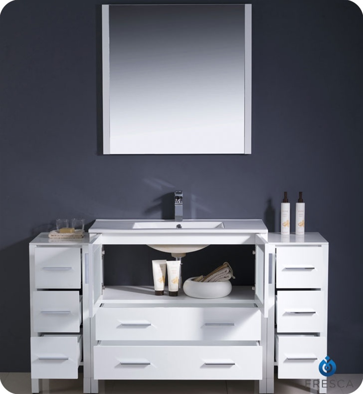 Fresca Torino  White Modern Bathroom Vanity w/  Side Cabinets & Integrated Sink with delivery to UK