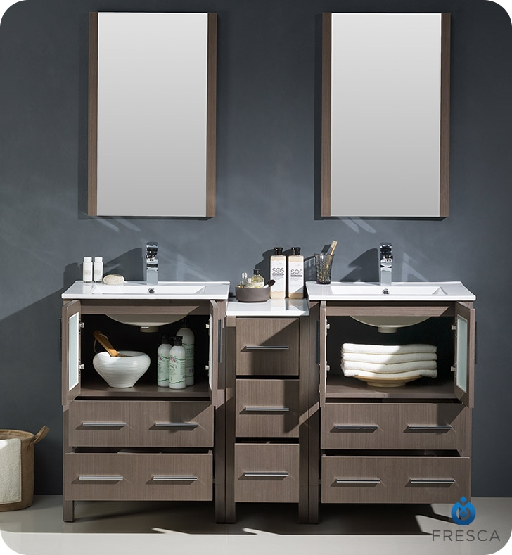 Fresca Torino  Gray Oak Modern Double Sink Bathroom Vanity with Side Cabinet and Integrated Sink with delivery to UK