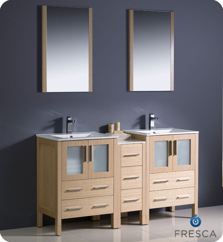 Fresca Torino  Light Oak Modern Double Sink Bathroom Vanity w/ Side Cabinet & Integrated Sinks with delivery to UK