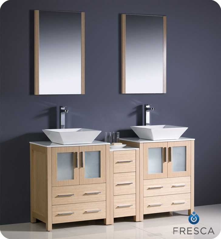Fresca Torino  Light Oak Modern Double Sink Bathroom Vanity w/ Side Cabinet & Vessel Sinks with delivery to UK