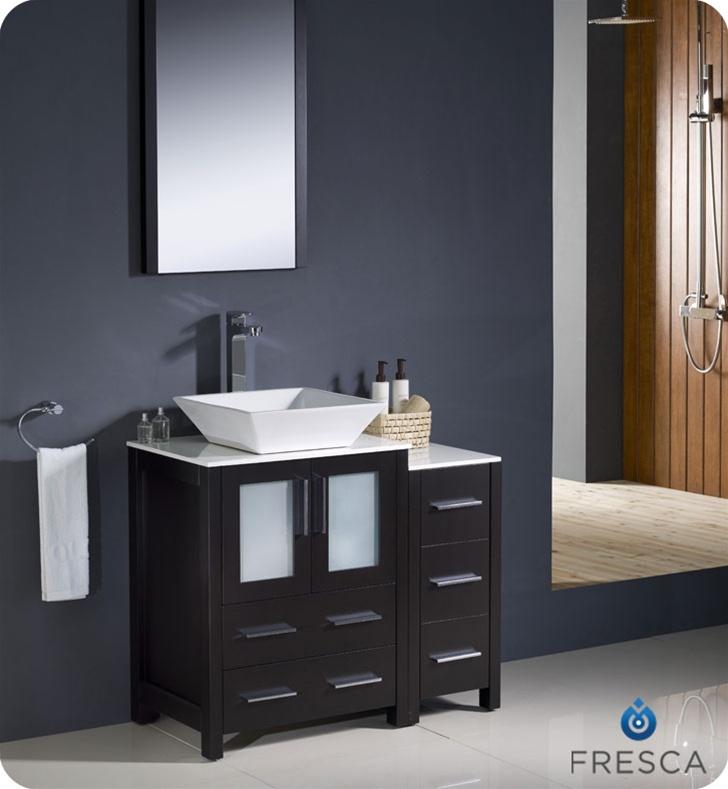 Fresca Torino  Espresso Modern Bathroom Vanity w/ Side Cabinet & Vessel Sink with delivery to UK