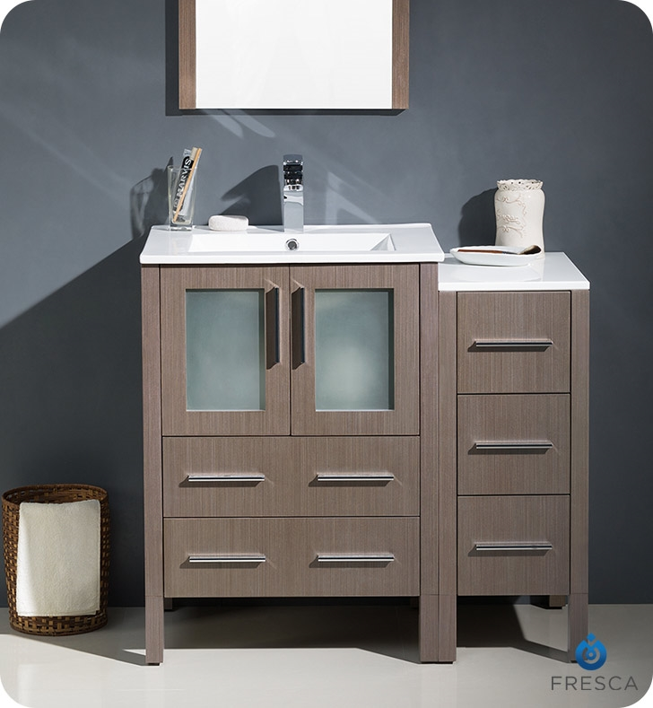 Fresca Torino  Gray Oak Modern Bathroom Vanity with Side Cabinet and Integrated Sinks with delivery to UK