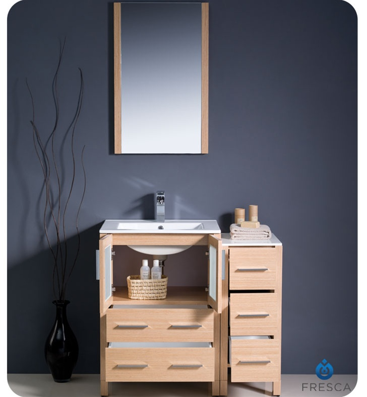 Fresca Torino  Light Oak Modern Bathroom Vanity w/ Side Cabinet & Integrated Sink with delivery to UK