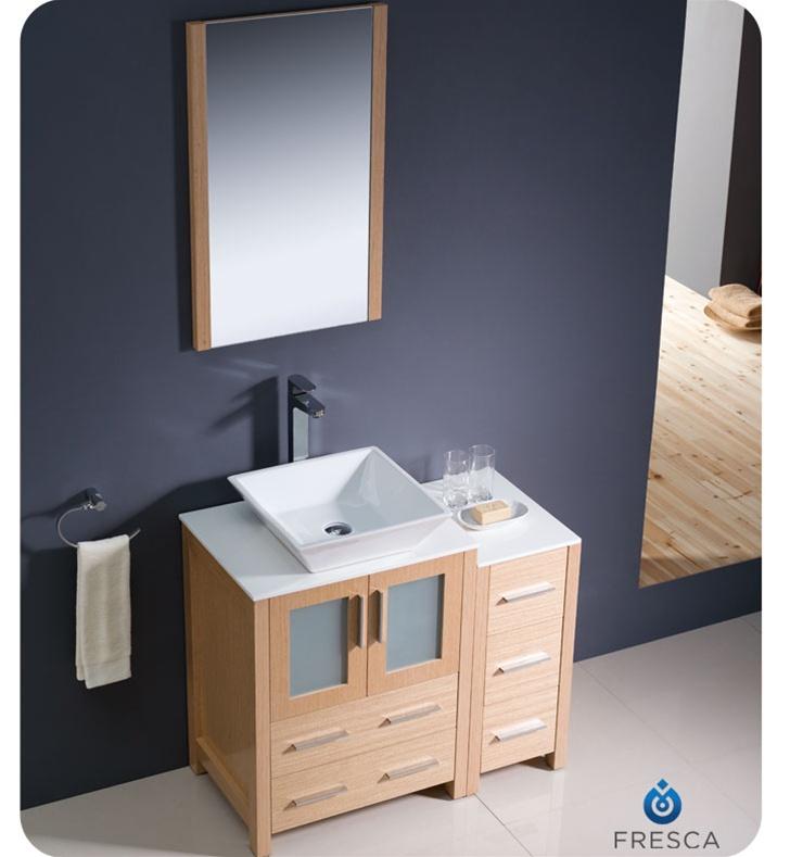 Fresca Torino  Light Oak Modern Bathroom Vanity w/ Side Cabinet & Vessel Sink with delivery to UK